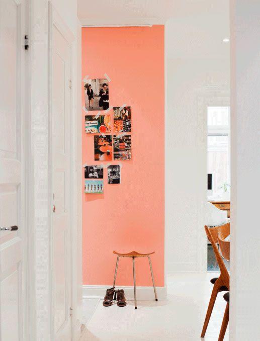 Peach wall + bright white