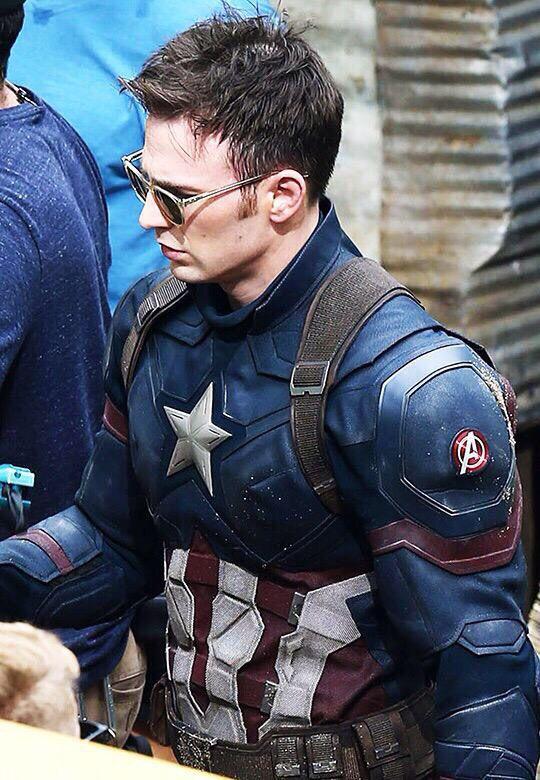 Chris Evans filming scenes for his upcoming movie Captain America: Civil War (May 19, 2015) in Atlanta.