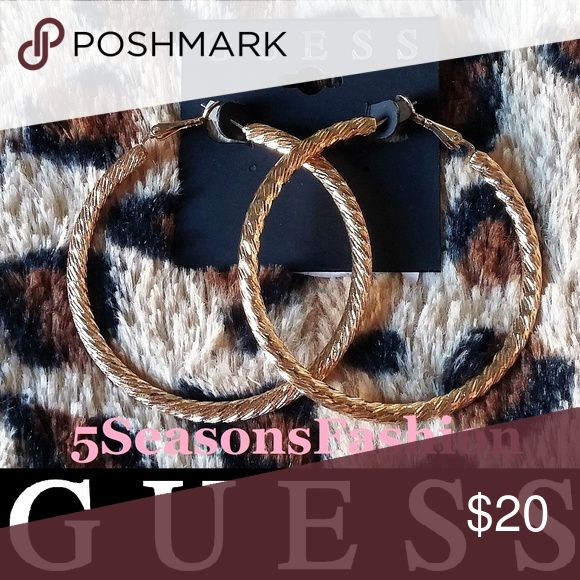 5a32262abea5 💋 GUESS Gold Tone Hoop Earrings Etched BRAND NEW WITH TAG! Gorgeous Gold  Tone hoops from GUESS 😻 FABULOUS 2.5