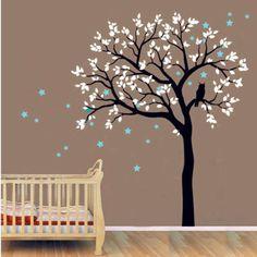 Baby Nursery Tree Wall Decal Vinyl Sticker Owls On The Tree With Star Wall Sticke Tree Wall Decal For Kids Bedroom Decor D-70