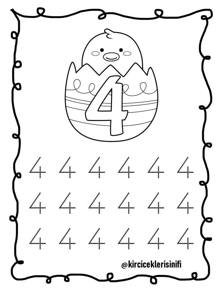 4 Rakami Ogrenme Anaokulu Matematigi Okul Oncesi Calisma