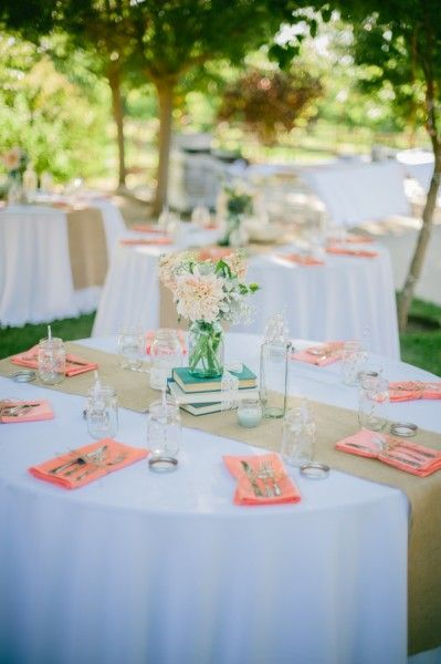 mint and peach wedding round table decorations - Google Search