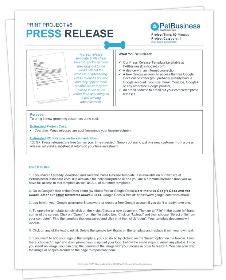 Press Release Template Amp Cheat Sheet Dog Grooming