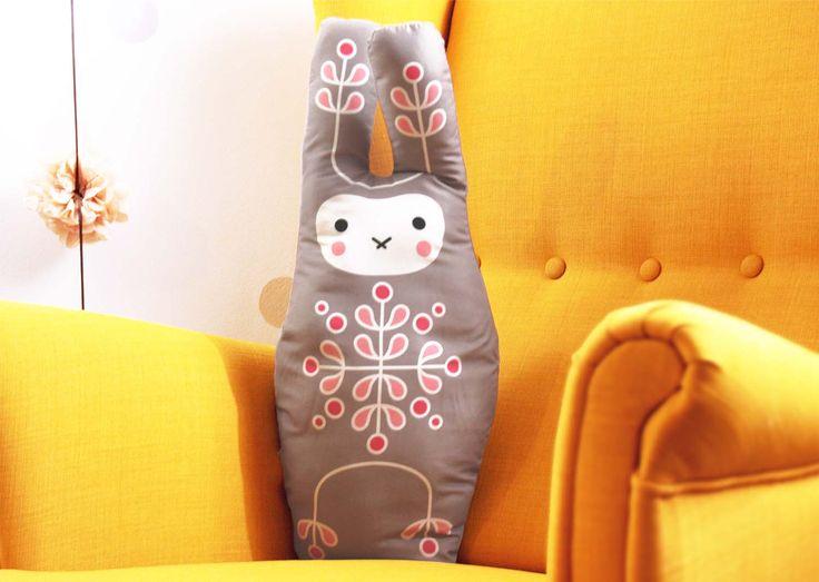 BUNNY/RABBIT big, soft stuffed cushion  #cushion #pillow #toy #baby #kidsroom #bunny #rabbit #illustration #design  #cute #animal #design #nursery