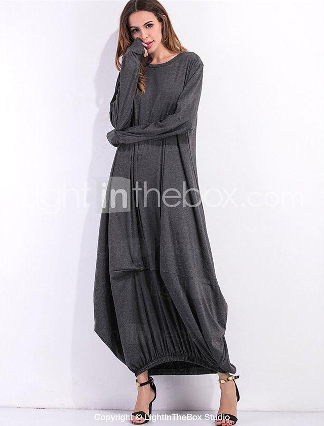 Kadın Günlük/Sade Sokak Şıklığı Salaş Elbise Solid,Uzun Kollu Yuvarlak Yaka Maksi Kırmızı Siyah Gri Yeşil Pamuklu Bahar SonbaharNormal 2017 - $21.99