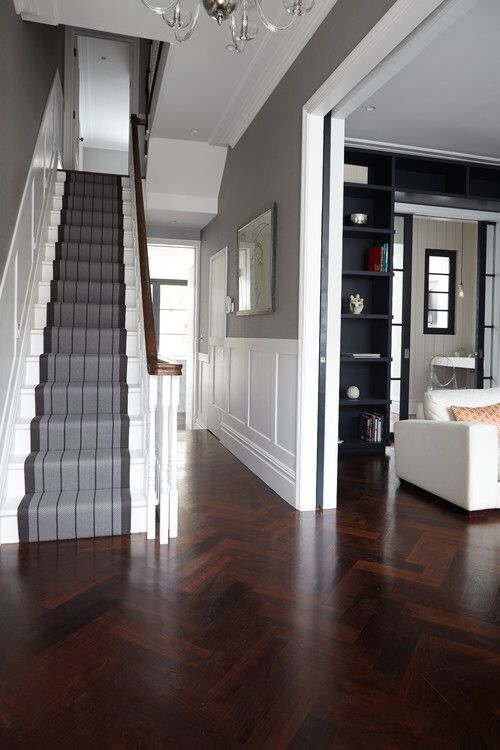 Love the way the parquet flows from hall to living area. #Parquet #Woodfloors #Whiteandgrey