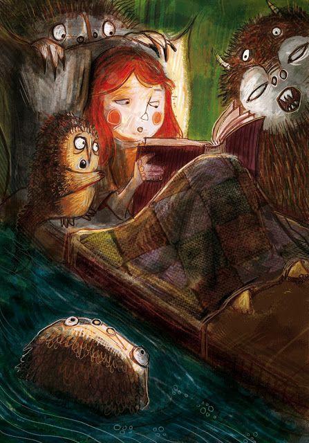 juanbjuan children illustration: Reading a monsters tale