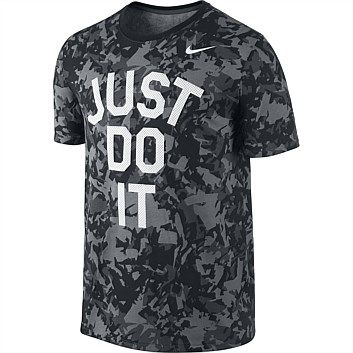 Huge variety of men's sports clothes inc. pants, shorts, shirts, jackets, swimwear, vests & more. Order online from Rebel Sport & we'll deliver to your door!, Nike Mens Dri Fit Camo Just Do It Tshirt