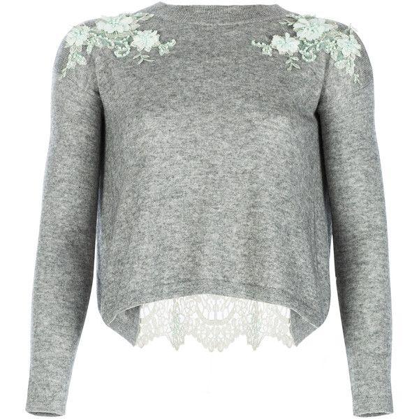 Ezgi Cinar Harmonia Jumper ($1,432) ❤ liked on Polyvore featuring tops, sweaters, ezgi cinar, grey, embellished top, gray crew neck sweater, grey sweater, grey crew neck sweater and floral jumper