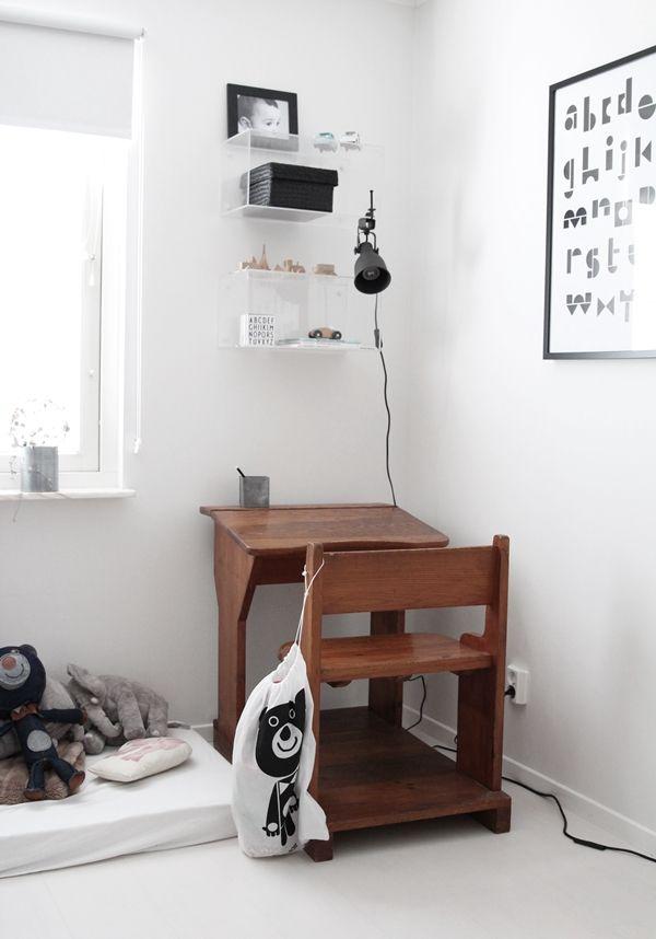 vintage desk in a modern black & white room