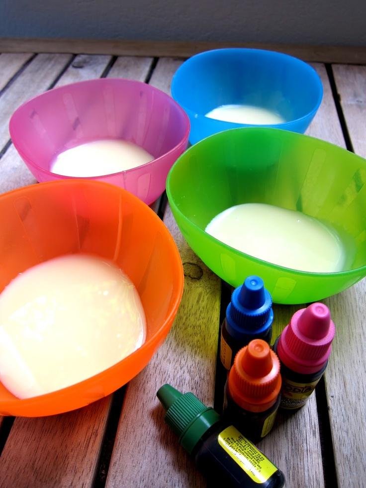 {Edible finger paint} ¡¡¡¡Pintura comestible!!! Necesitas: Leche condensada Colorantes vegetales Papel para pintar