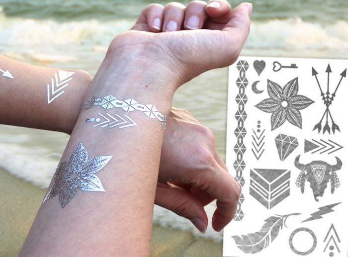 Custom Metallic Temporary Tattoos Custom Printing Silver Gold Metallic Tattoo Tattoodesign Tattoo Metallic Tattoo Temporary Tattoos Temporary Tattoos