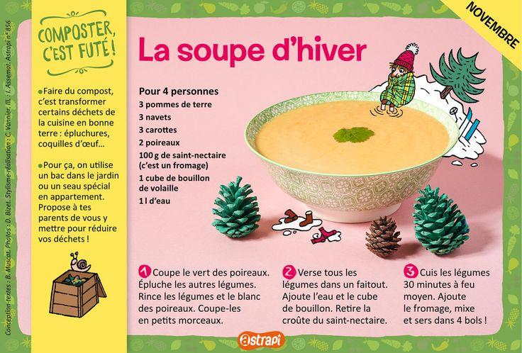 La soupe d'hiver : une recette pour les enfants de 7 à 11 ans, avec des pommes de terre, des navets, des carottes, des poireaux et du fromage (extrait du magazine Astrapi n°856).