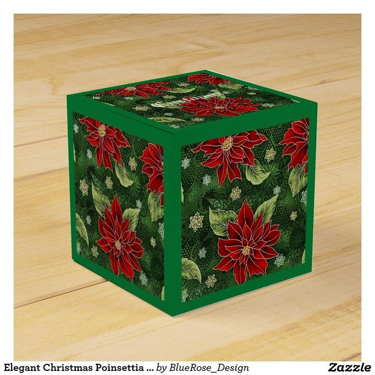 Elegant Christmas Poinsettia Green Cube Favor Box