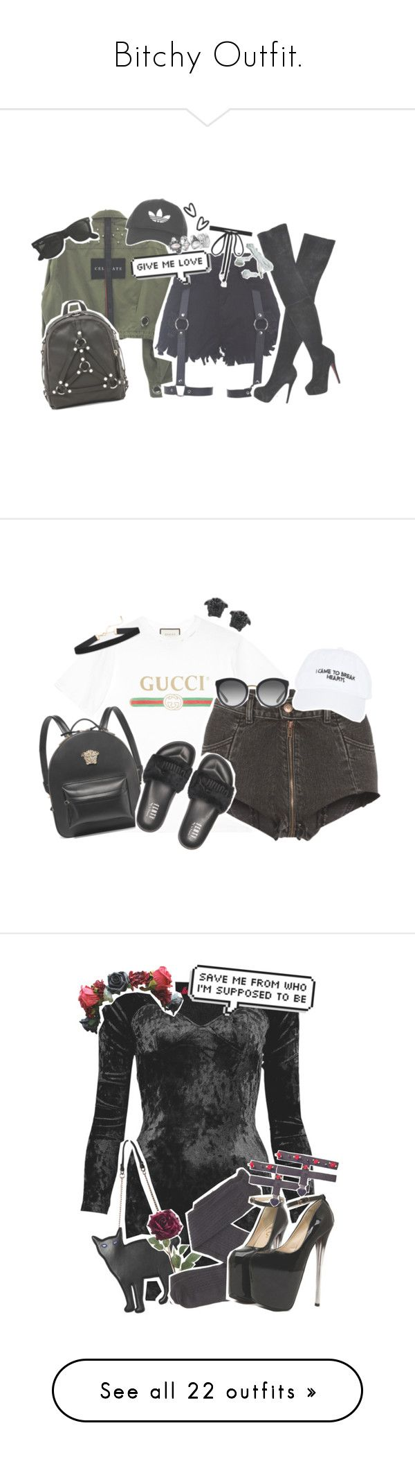 """Bitchy Outfit."" by drunk-inlove ❤ liked on Polyvore featuring Calvin Klein Underwear, Christian Louboutin, UNIF, Ray-Ban, Topshop, Joomi Lim, Versace, Gucci, Vetements and Puma"