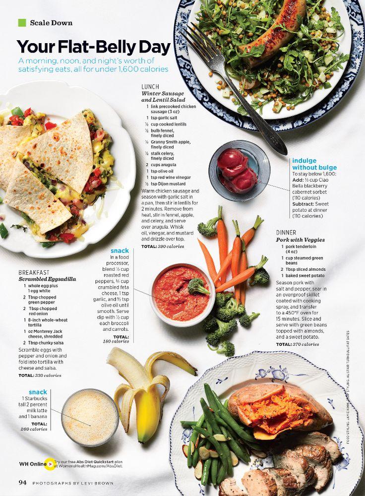 Flat Belly Diet - egg quesadilla, lentil salad and pork | Women's Health Magazine