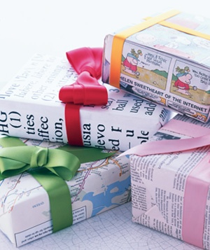 Wrapping Paper... use comics, newspaper, maps, wallpaper... my children gave many a
