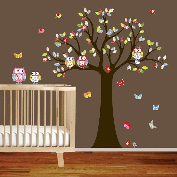 So cute for a baby or little girl room!!! Children owl tree wall decal -  owls birds butterflies -  girl boy baby nursery on Etsy, $99.00