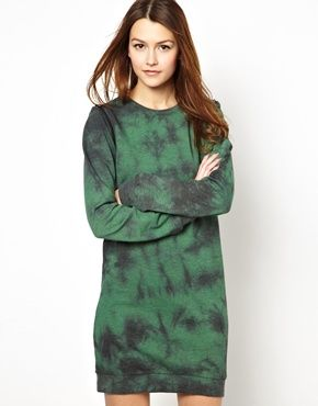 Sweater Dress With Zip Off Sleeve Detail In Tie Dye