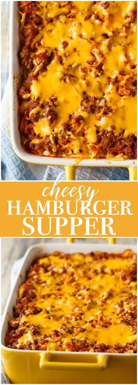 Cheesy Hamburger Supper - Pure comfort food heaven! It reminds me a little of lasagna with all the layers of flavours.