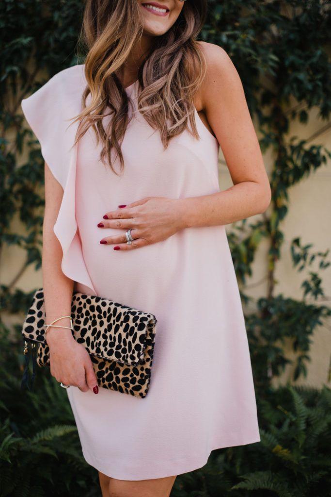 Blush Pink cocktail dress with feminine ruffle detail | Maternity Style | Stylish Bump | Pregnancy