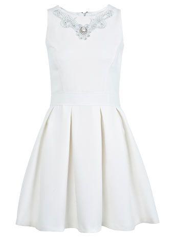 Necklace Trim Skater Dress - Going Out Dresses  - Dress Shop