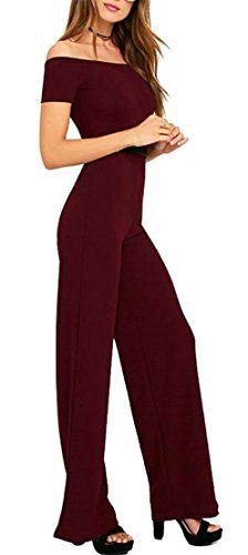 b63c43695b2b ouxiuli Womens Strapless Cocktail Dress Wide Leg High Slit Maxi Rompers  Semi Formal Jumpsuit