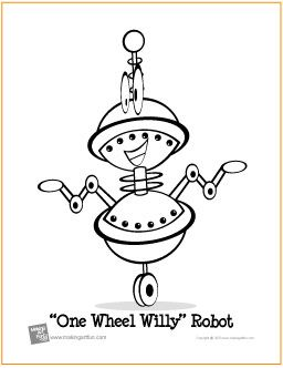 one wheel willy robot free coloring page httpmakingartfuncom
