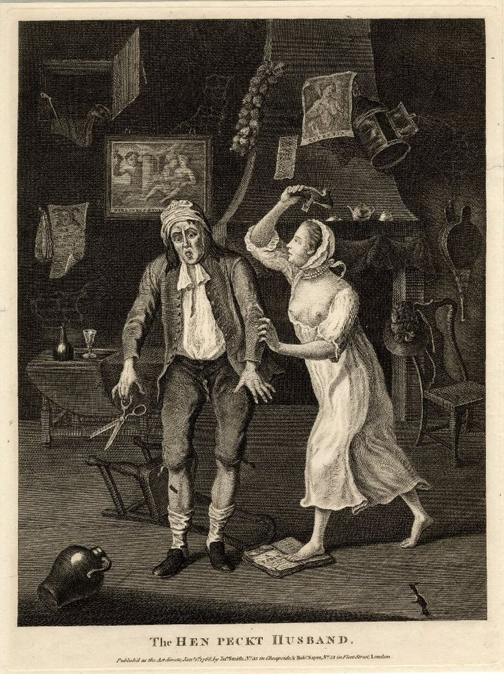 Satire on the battle of the sexes: a cuckolded tailor is being beaten by his wife in her shift: for a full account see BMSat.  1768  Engraving Museum number 1869,0213.9