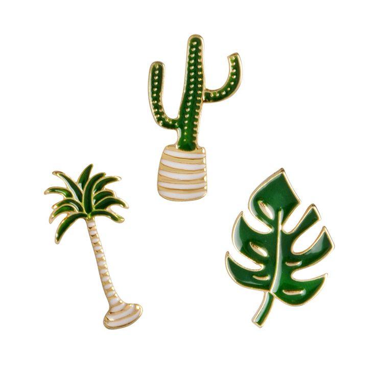 Palm tree葉サボテン鉢植え植物ブローチボタンピンセータージャケット襟バッジグリーン植物ジュエリーギフト用女性男性キッド