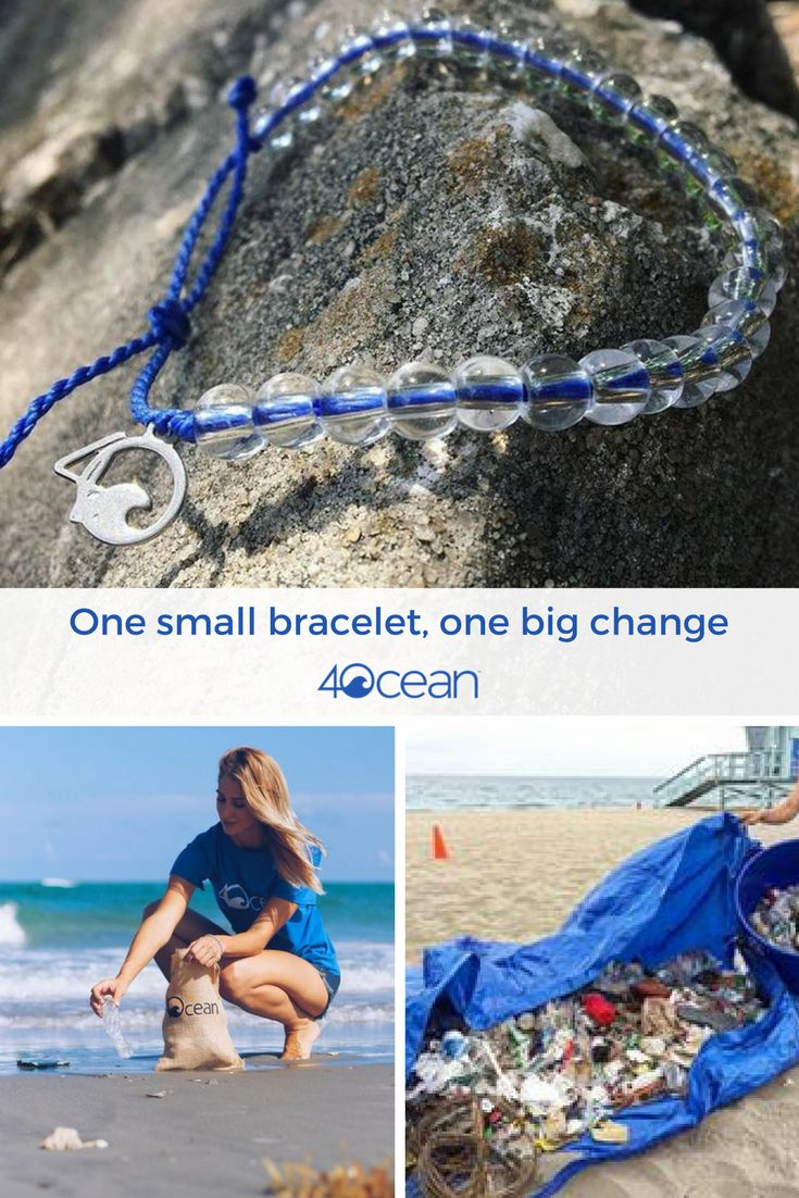 By purchasing this bracelet, you will remove one pound of trash from the ocean.  Our bracelet is made from 100% Recycled Materials. The beads are made from recycled glass bottles & the cord is made from recycled plastic water bottles. Every bracelet purchased funds the removal of one pound of trash from the Ocean.