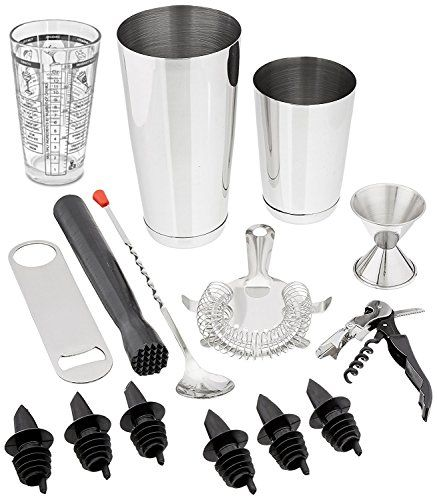 Tiger Chef 15-Piece Professional Stainless Steel Boston Shaker Home Bar Set and Cocktail Making Set  Includes Bar Tools with 16-Ounce Mixing Glass with Imprinted Recipes