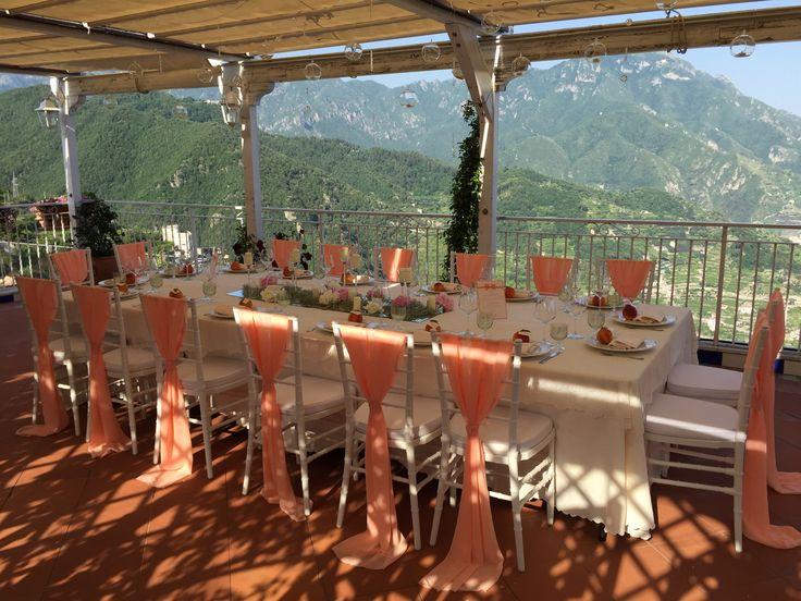 wedding table, Wedding Day, peach, green and white colors, Hotel Bonadies, ravello, Olga Studio, Sposa Mediterranea, Federica Wedding Planner
