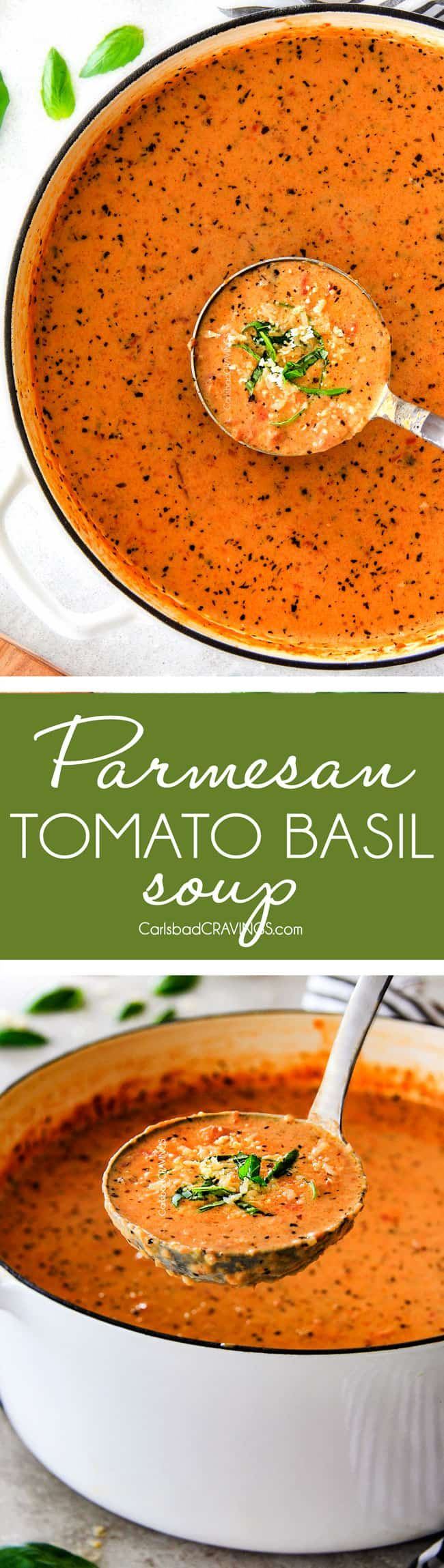 This Parmesan Tomato Basil Soup recipe is destined to become a family favorite! Its super easy without any chopping! bursting with flavor and I love the addition of Parmesan! via @carlsbadcraving