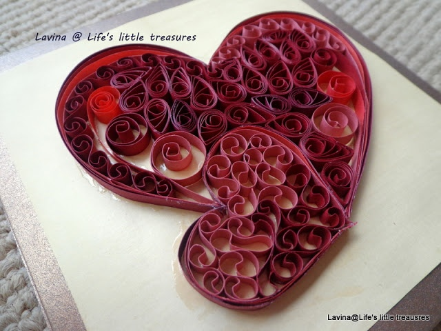 Life's little treasures: Quilled hearts - anniversary card