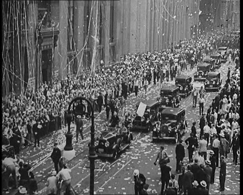 Vintage 1933, Aviatrix Amy Johnson and husband, Aviator Jim Mollison in their Ticker Tape Parade in NYC, www.RevWill.com