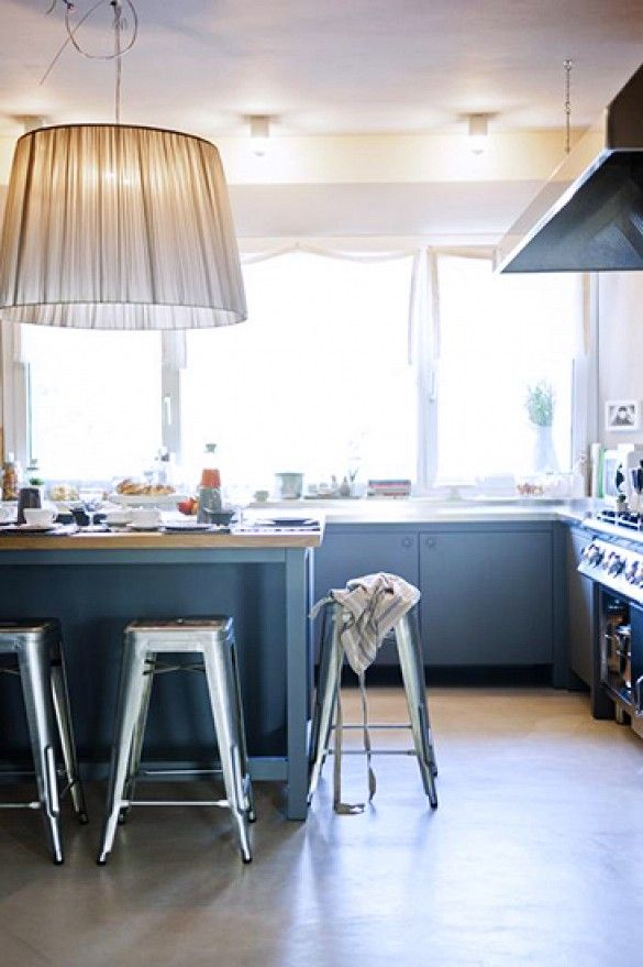 This is the blue for the buffet or the island.  Having a Moment: Blue-Gray Kitchen Cabinets via @domainehome