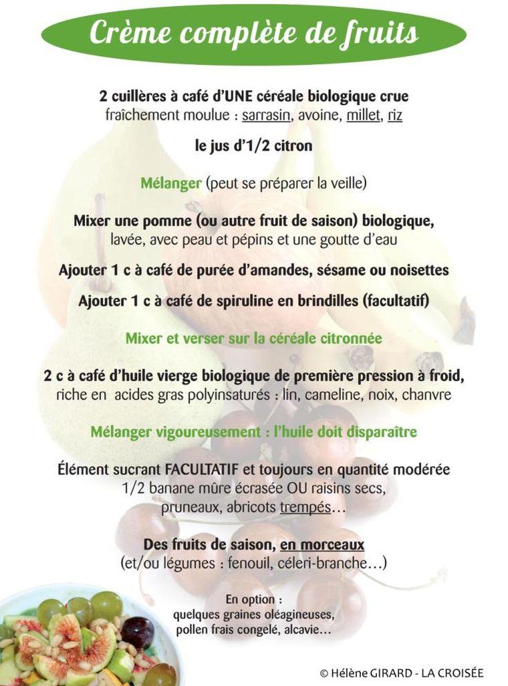 Association Kousmine Française - La crème complète de fruits, recette sans gluten.