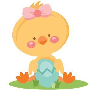 Girl Chick Holding Egg SVG