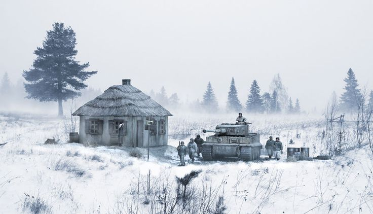 TIGER TANK  EASTERN FRONT WINTER MILITARY ART PRINT SIGNED!! #Realism