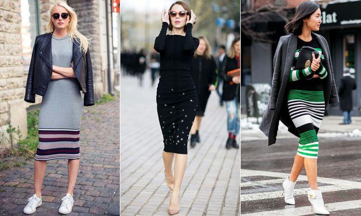 Облегающие трикотажные платья ниже колена с узорами