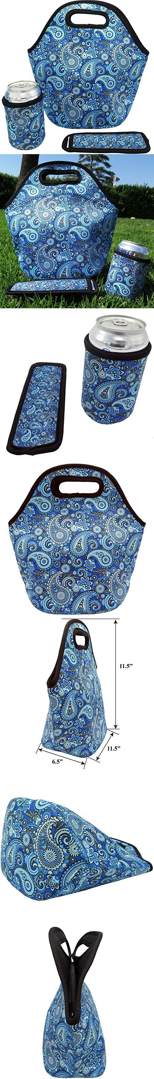 Neoprene Lunch Bag - Insulated Lunch Tote Bags for Women & Girls - Lunch Boxes for Kids & Adults - Adult Lunch Box (Paisley Design Set)