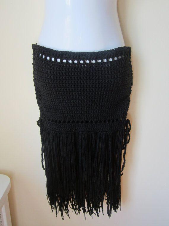 Crochet skirt Black fringe skirt Maxi skirt by Elegantcrochets, $72.00