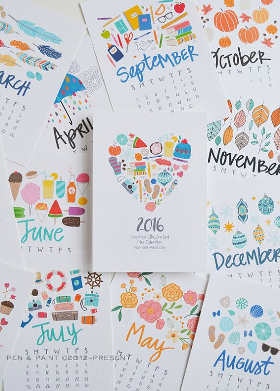 May - December 2016 REFILL ONLY 5x7 Mini Calendar, Illustrated, Seasonal, Colorful, Planner,5 x 7, Wall Calendar, Desk Calendar