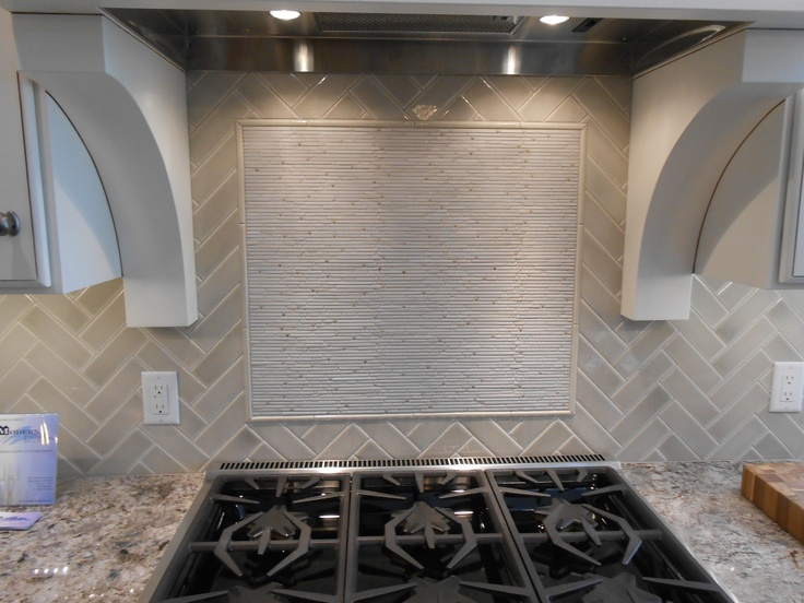 Modern Backsplash Herringbone Tile With Accent Feature Over Stove