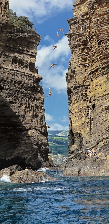 Cliff diving Azores, Portugal Would you do this?! For amazing adventure holidays overseas, click here: http://www.squidoo.com/adventure-travel-shop