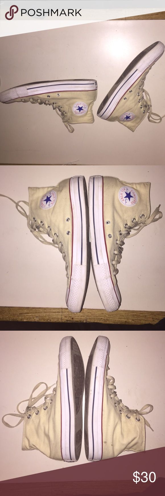 Cream converse high tops size 11 High top cream converse, rarely used Converse Shoes Sneakers