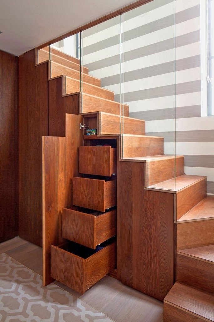 #staircase #storage is no news, but we particularly like this one due to the simplicity of the form, warm walnut wood stain and glass partition. Fun floor and wall patterns are a kiss of perfection! - #contemporary #contemporarystorage #modern #storage