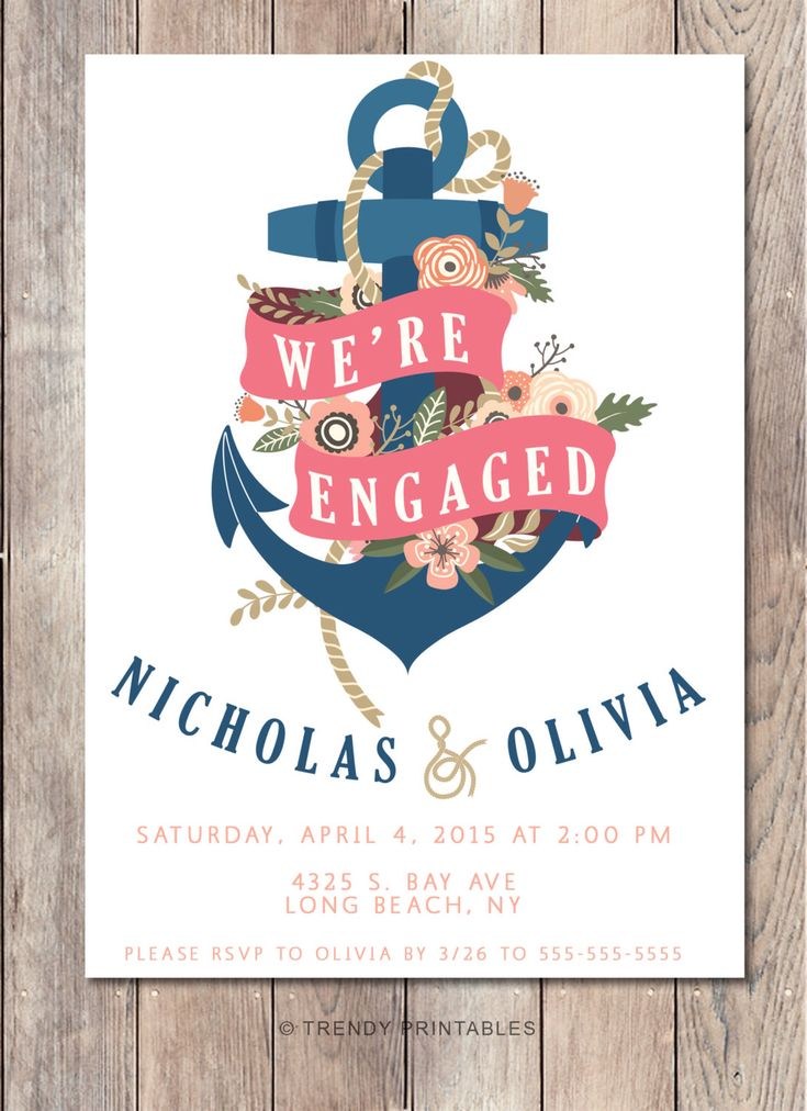 Engagement Party Invitation, We're Engaged, Nautical Engagement Party Invitation, Anchor Engagement Party Invitation, Floral Engagement by TrendyPrintables on Etsy https://www.etsy.com/listing/223301606/engagement-party-invitation-were-engaged