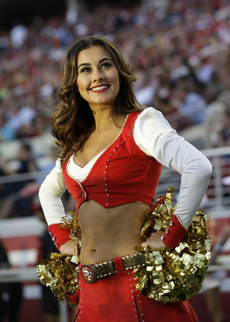 A San Francisco 49ers cheerleader performs during the first half of an NFL football game between the San Francisco 49ers and the Seattle Seahawks in Santa Clara, Calif., Thursday, Oct. 22, 2015. (AP Photo/Marcio Jose Sanchez)